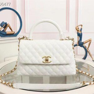 Chanel Caviar Quilted Small Coco Handle Flap White